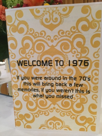 Welcome to 1976, 70s themed party ideas, The Glam Rocks 70s tribute band performing at Cricklade House in Wiltshire for the seventies themed event for the wedding anniversary party of Gina and Graham Miller