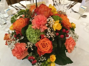 flowers on table, cricklade house party, decoration of tables