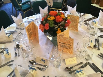 table decorations at party in Wiltshire
