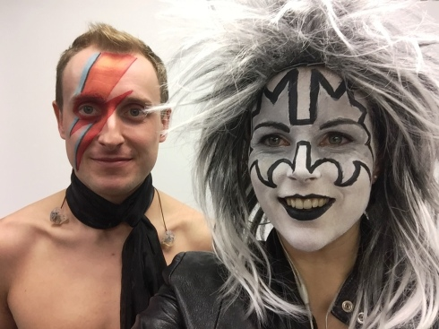Bowie and Kiss, 70s glam rock band, glam rock band, glam band, 70s tribute band in WIltshire, 70s tribute band in SOuth West, Transvestite band, band for 40th wedding, band for 40th, kiss tribute band, bowie tribute, kiss costumes, band in make up, band for Cricklade House