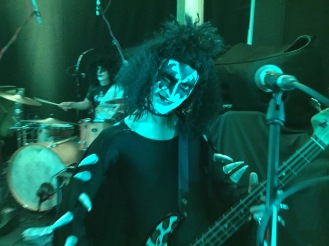 THe Demon make up with green tint, Gene Simmons in UK, David Bowie make up, david bowie tribute, David bowie look a like,70s glam rock band, glam rock band, glam band, 70s tribute band in WIltshire, 70s tribute band in SOuth West, Transvestite band, band for 40th wedding, band for 40th, kiss tribute band, bowie tribute, kiss costumes, band in make up, band for Cricklade House