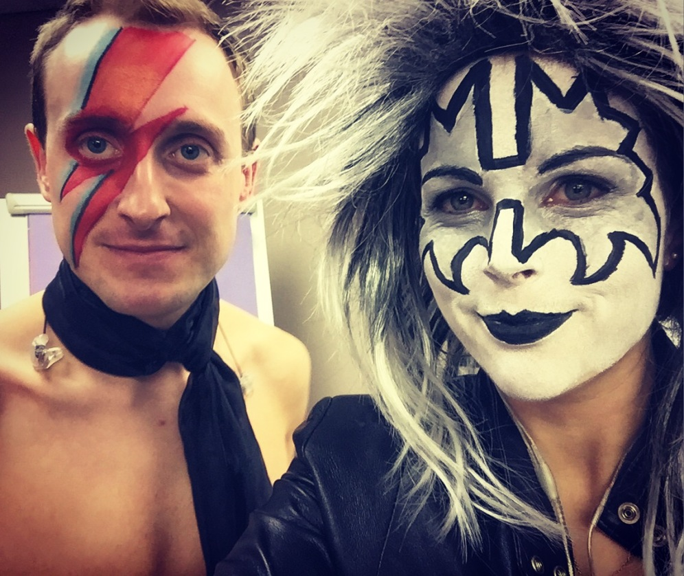 Bowie and Ace Frehley, 70s glam rock band, glam rock band, glam band, 70s tribute band in WIltshire, 70s tribute band in SOuth West, Transvestite band, band for 40th wedding, band for 40th, kiss tribute band, bowie tribute, kiss costumes, band in make up, band for Cricklade House