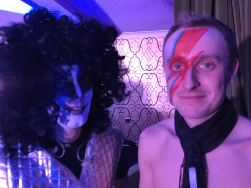 Eric carr and David Bowie, Kiss and Bowie, 70s glam rock band, glam rock band, glam band, 70s tribute band in WIltshire, 70s tribute band in SOuth West, Transvestite band, band for 40th wedding, band for 40th, kiss tribute band, bowie tribute, kiss costumes, band in make up,